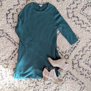 Jjill Ribbed Textured Sweater Dres Wool Blend Teal